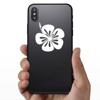 Hibiscus Flower With Ste To The Left Sticker on a Phone example