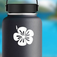 Hibiscus Flower With Ste To The Left Sticker on a Water Bottle example