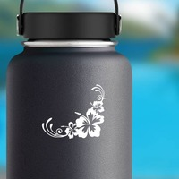 Hibiscus Flowers Corner Sticker on a Water Bottle example