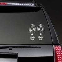 Hiking Boot Footprints Sticker on a Rear Car Window example
