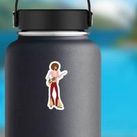 Hippie Guy Musician Sticker on a Water Bottle example