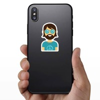 Hippie Guy Sticker on a Phone example