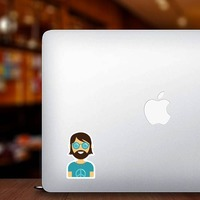 Hippie Guy Sticker on a Laptop example