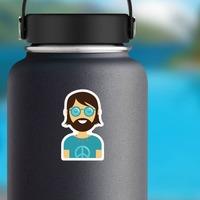 Hippie Guy Sticker on a Water Bottle example