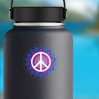 Hippie Peace Sticker on a Water Bottle example