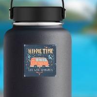 Hippie Time Bus Hippie Sticker on a Water Bottle example