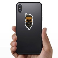 Hipster Skull With Mustache And Beard Sticker on a Phone example