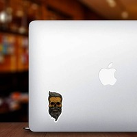 Hipster Skull With Mustache And Beard Sticker on a Laptop example