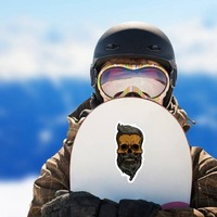 Hipster Skull With Mustache And Beard Sticker on a Snowboard example