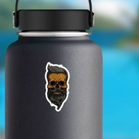 Hipster Skull With Mustache And Beard Sticker on a Water Bottle example