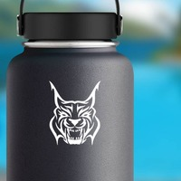 Hissing Lynx Sticker on a Water Bottle example