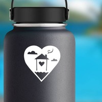 Home In A Heart Sticker on a Water Bottle example