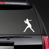 Homerun Hitter Girl Softball Player Sticker on a Rear Car Window example