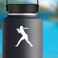 Homerun Hitter Girl Softball Player Sticker on a Water Bottle example