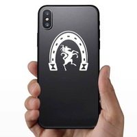 Horse Dancing Under A Horseshoe Sticker on a Phone example