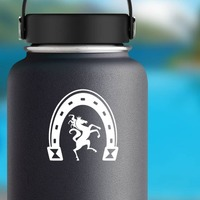 Horse Dancing Under A Horseshoe Sticker on a Water Bottle example