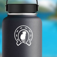 Horse Running Through Horseshoe Sticker on a Water Bottle example