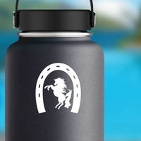 Horseshoe With Horse Sticker on a Water Bottle example
