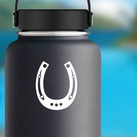 Horseshoe With Wholes Sticker on a Water Bottle example