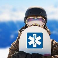 Hospital Symbol Sticker on a Snowboard example