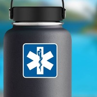 Hospital Symbol Sticker on a Water Bottle example
