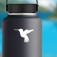 Hummingbird Flying Sticker on a Water Bottle example