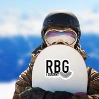 I Dissent RBG Collar Sticker on a Snowboard example
