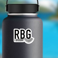 I Dissent RBG Collar Sticker on a Water Bottle example