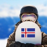 Iceland Flag Sticker on a Snowboard example