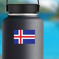 Iceland Flag Sticker on a Water Bottle example