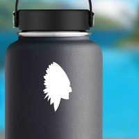 Indian Head Sticker on a Water Bottle example