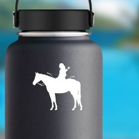 Indian On A Horse With Bow And Arrows Sticker on a Water Bottle example