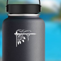 Indian Peace Pipe With Feathers Sticker on a Water Bottle example
