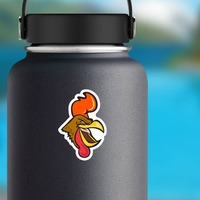 Intense Gamecock Mascot Sticker on a Water Bottle example