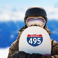 Interstate 495 Sign Sticker on a Snowboard example
