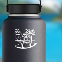 Island And Palm Trees - No Bad Days Sticker on a Water Bottle example