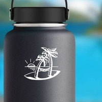 Island And Palm Trees Sticker on a Water Bottle example