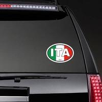 Italy Ita Flag Oval Sticker on a Rear Car Window example