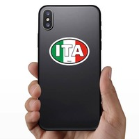 Italy Ita Flag Oval Sticker on a Phone example