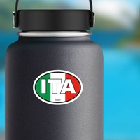 Italy Ita Flag Oval Sticker on a Water Bottle example