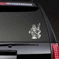 Japanese Man Warrior Sticker on a Rear Car Window example