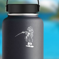 Japanese Woman Warrior With Long Hair And Sword Sticker on a Water Bottle example