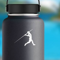 Javelin Thrower Sticker on a Water Bottle example