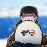 Joe Biden American Flag Sunglasses Sticker on a Snowboard example