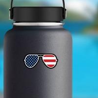 Joe Biden American Flag Sunglasses Sticker on a Water Bottle example