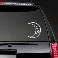 Joyful Moon Sticker on a Rear Car Window example