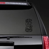 Keep Calm and Be a Hippie Sticker on a Rear Car Window example