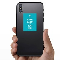 Keep Calm And Run On Sticker on a Phone example