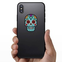 Keyhole Day of the Dead Skull Sticker on a Phone example