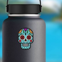Keyhole Day of the Dead Skull Sticker on a Water Bottle example